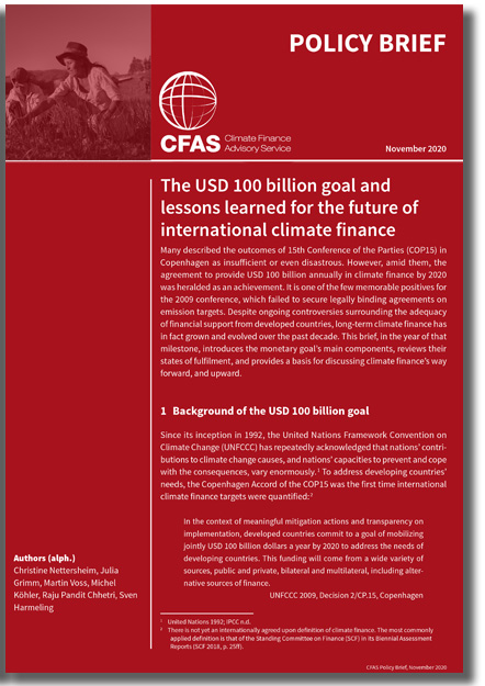 The USD 100 billion goal and lessons learned for the future of international climate finance